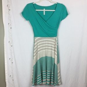 Gilli USA teal, tan, and cream faux wrap dress